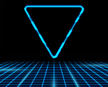 Retro Futuristic 80s - 90s Abstract Hi-tech Neon Background With Blue Triangle. Vector Poster Design