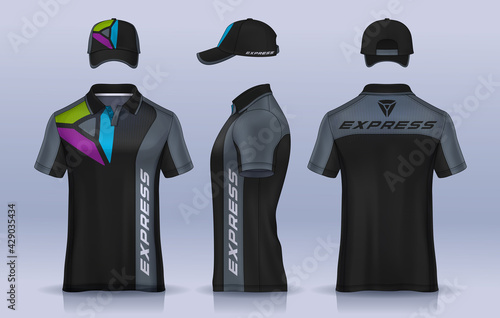 Obraz Corporate Work Shirts,t-shirt and cap templates design. uniform for company. - fototapety do salonu