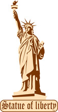 Copper Statue Of Liberty, Logo, Isolated.
