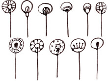 Hand Drawn Set Of Graphic Minimalist Dandelions. Simple Monohrome Vector Illustration Of Flowers And Branches For Logo Desing, Greeting Card, Cover.