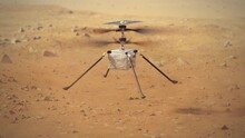 Ingenuity Helicopter Takeoff From Mars And Surface Observation. 4k Footage