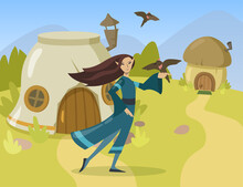 Cartoon Female Elf Character Flat Vector Illustration. Elven Woman Personage In Traditional Dress Holding Bird On Her Finger In Elven Tiny Village. Computer Game, Fantasy, Fairytale, Elf Concept