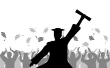 Cheerful Boy Graduates With Diploma On Background Of Joyful Crowd Of People Throwing Mortarboards Or Academic Caps, Silhouette. Vector Illustration