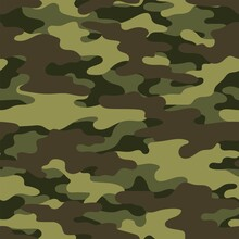 Camouflage Green Pattern Military Texture On Textile. Repeat Print. Fashionable Background. Vector