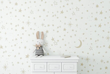 Empty Wall With Childrens Wallpaper Golden Stars