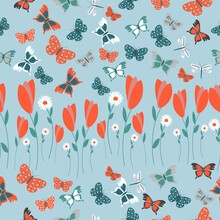 Hand Drawn Floral Pattern. Surface With Meadow Flowers, Herbs And Dragonfly, Butterfly Vector Seamless Background.