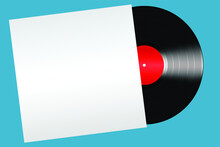 Black Vinyl Record With Red Label In A White Envelope Isolated On Blue Background.