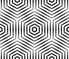 Halftone Linear Hexagon Seamless Pattern. Optical Illusion Geometric Background.