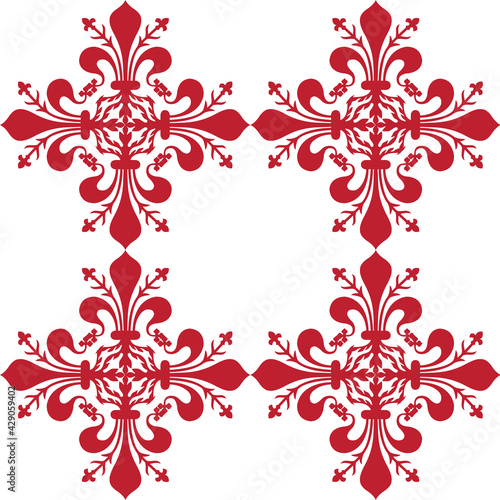 Fototapeta Pattern background with red florentine lily
