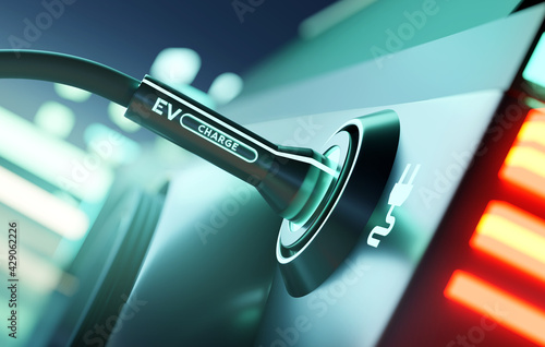 A close up of an electric car being charged up using a car charging station. e-car and substainable energy. 3D illustration - fototapety na wymiar