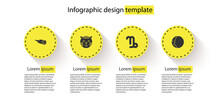 Set Comet Falling Down Fast, Tiger Zodiac, Capricorn And Eclipse Of The Sun. Business Infographic Template. Vector