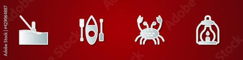 Set Fishing float in water, Kayak or canoe, Crab and Camping lantern icon Fototapeta