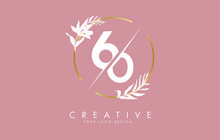 Number 60 6 0 Logo Design With Golden Circle And White Leaves On Branches Around.