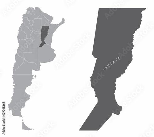 Naklejka premium Santa Fe province silhouette map