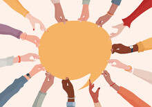 Agreement Or Affair Between A Group Of Colleagues Or Collaborators.Arms And Hands Holding Speech Bubble.Diversity People Who Exchange Information.Concept Of Sharing And Exchange.Community