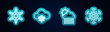 Set Line Snowflake, Cloud With Snow, Fog And Cloud Sun And . Glowing Neon Icon. Vector