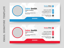 Creative Minimal Email Signature Vector Templates With An Author Photo Place, Business Email Signature Vector Template.