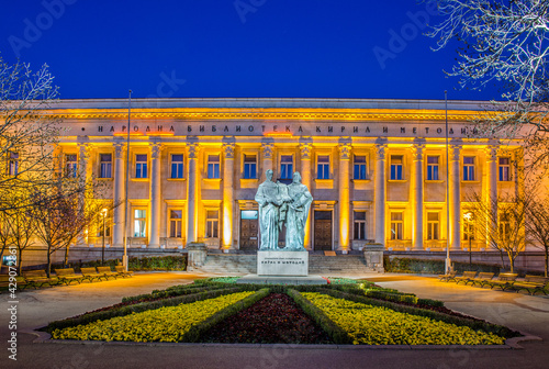 Fotografie, Tablou night view of the illuminated Bulgarian National Library St
