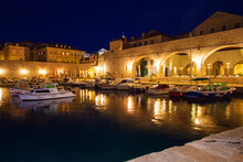 Night Summer View,  Evening Twilight Scenery, Incredible Marine Seascape, Popular Croatian Town, Europe, Adriatic Sea, Croatia, Dubrovnik City  Famous Place For Rest