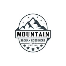 Vintage Logo Of Mountain Badge Studio For Landscape Photographer, Adventure, Climber Illustration Design