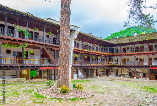 Canvas-taulu view of an inner courtyard of the famous troyan monastery in Bulgaria