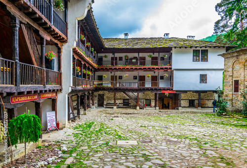 Obraz na plátne view of an inner courtyard of the famous troyan monastery in Bulgaria