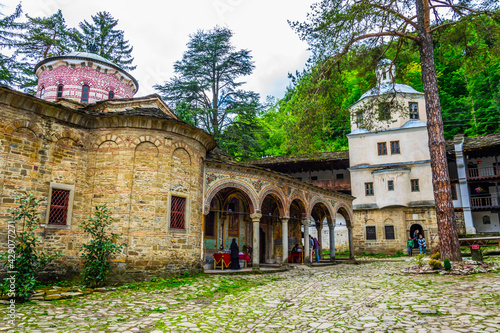 Detail of a church situated inside of the troyan monastery in Bulgaria Fototapet