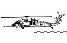 Sikorsky HH-60G Pave Hawk. Vector Drawing Of Search And Rescue Helicopter. Side View. Image For Illustration And Infographics.