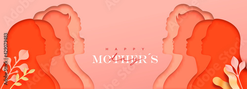 Mother Day pink mom group nature banner