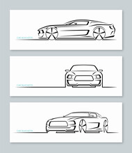 Set Of Muscle Car Silhouettes Isolated On White Background. Sports Car Contours, Logo Design Templates. Side, Front, Three-quarter View. Vector Illustration.