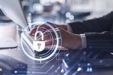 A Programmer Is Typing A Code On Computer To Protect A Cyber Security From Hacker Attacks And Save Clients Confidential Data. Padlock Hologram Icons Over The Typing Hands. Formal Wear.