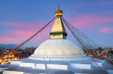 Famous Ancient Boudhanath Stupa, Also Called Boudnath, Or Boudha In Kathmandu, Nepal. It Is One Of The Most Remarcable Symbol Of Buddism.