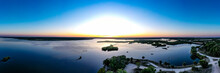 Beautiful Florida Sunset Over Sunset Turnbull Bay And Spruce Creek Watershed, New Symrna Beach, Florida, USA.