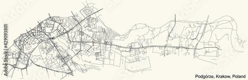 Fototapeta Black simple detailed street roads map on vintage beige background of the quarter Podgórze district of Krakow, Poland obraz