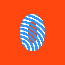 Number 0 Texture Of Curved Lines In White And Blue On Orange Background For Party, Editable Vector