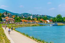 People Are Walking On The Riverside Promenade In Szentendre In Hungary