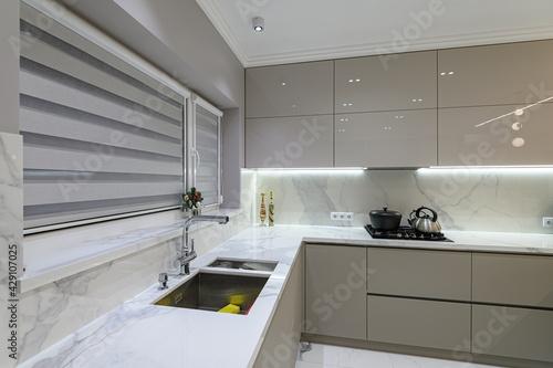 Fototapeta Luxury white modern marble kitchen in studio space obraz