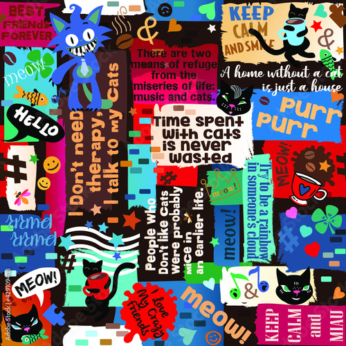 Photographie Seamless pattern with phrases, quotes, cats