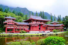 Beautiful Shot Of The Historic Byodo-In Temple Near Mountains In Ahuimanu, USA