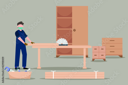 Leinwand Poster Occupation vector concept: The carpenter working with circular saw in his worksh