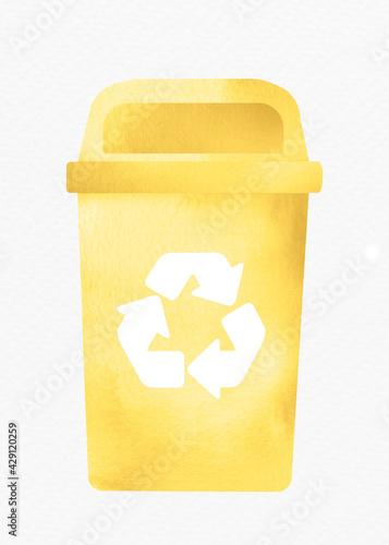 Fotografie, Obraz Bin recycling trash yellow container design element