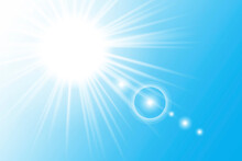 Blue Shining Ray Sky. Cold Weather Effect. Summer, Sunlight, Nature, Sky. Vector Illustration. Stock Image.