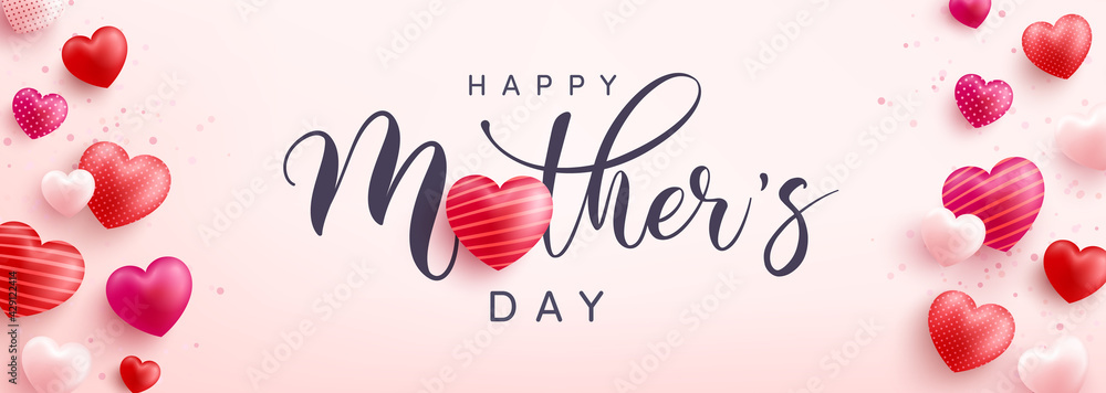 Obraz Mother's Day banner with sweet hearts on pink background.Promotion and shopping template or background for Love and Mother's day concept.Vector illustration eps 10 fototapeta, plakat