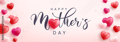 Fototapeta Mother's Day banner with sweet hearts on pink background.Promotion and shopping template or background for Love and Mother's day concept.Vector illustration eps 10 obraz