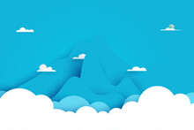 Clouds And Mountains Nature Landscape Scenery Banner Background Paper Art Style.Vector Illustration.