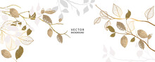Minimal Background In Golden Metallic Texture Flowers And Tropical Summer Leaf