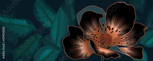 Fotografie, Obraz Luxury green background vector with golden metallic decorate wall art