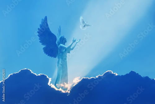 Fotografie, Obraz Beautiful angel in heaven with divine rays of sun light