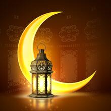 Ramadan Kareem Poster Celebration Lamp Lantern Realistic 3D Illustration