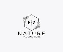 Initial EZ Letters Botanical Feminine Logo Template Floral, Editable Premade Monoline Logo Suitable, Luxury Feminine Wedding Branding, Corporate.